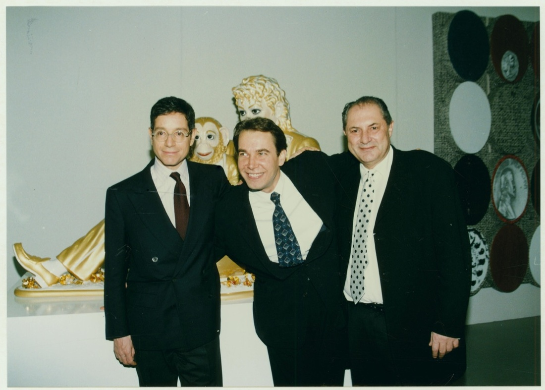 """Jeffrey Deitch, Jeff Koons, and Dakis Joannouat the opening of the exhibition""""Everything That's Interesting Is New,"""" The Dakis Joannou Collection, The Factory, Athens School of Fine Arts,Athens, 1996."""