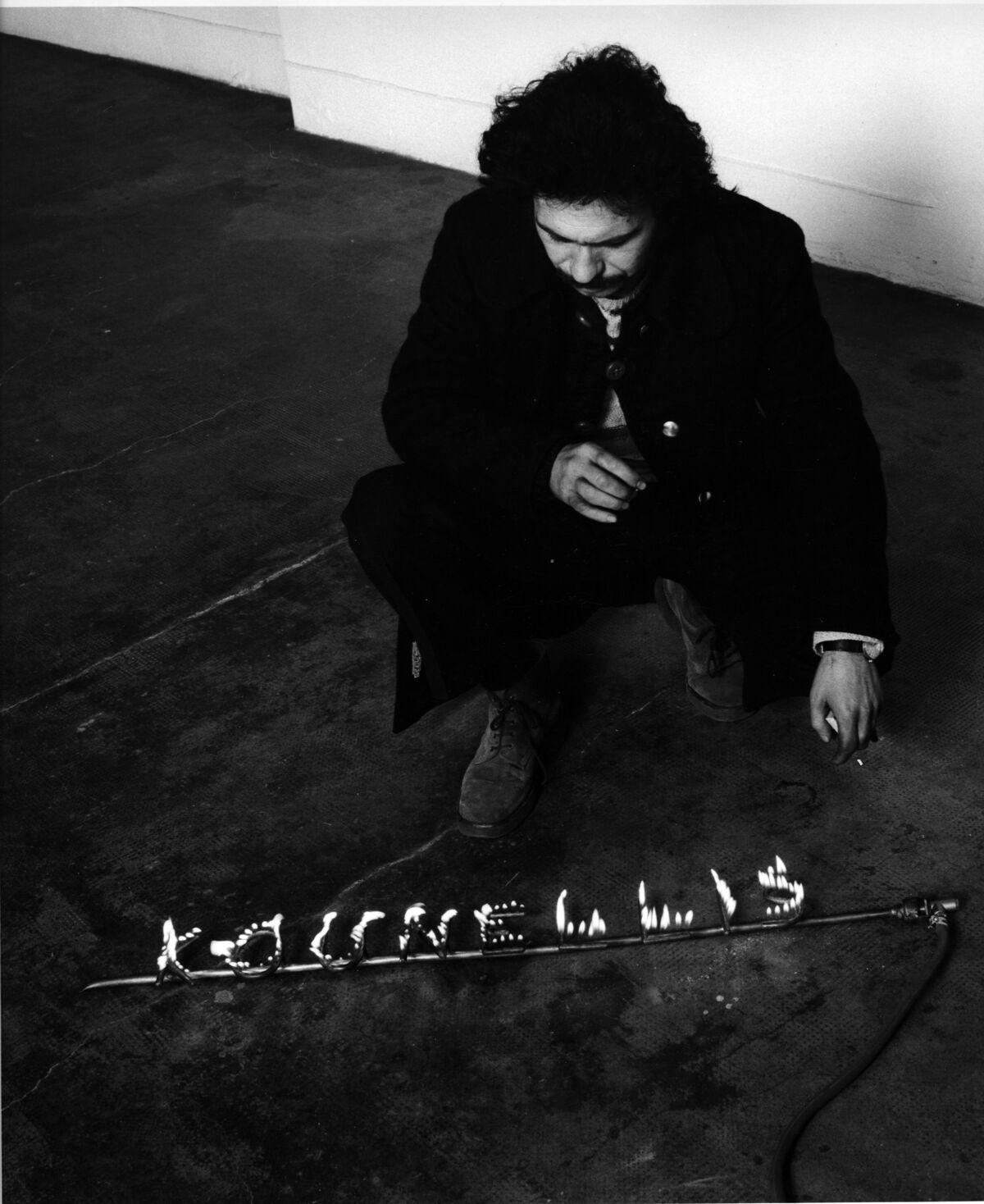 Portrait of Jannis Kounellis, Galleria Gian Enzo Sperone, Turin, 1971. Photo © Paolo Mussat Sartor. Courtesy of Fondazione Prada.