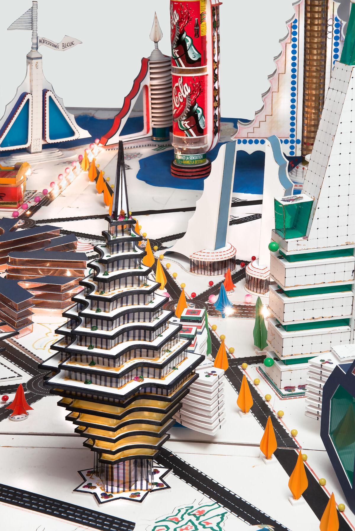Bodys Isek Kingelez, Ville de Sète 3009 (detail), 2000. Collection Musée International des Arts Modestes (MIAM), Sète, France. © Pierre Schwartz ADAGP; courtesy Musée International des Arts Modestes (MIAM), Sète, France