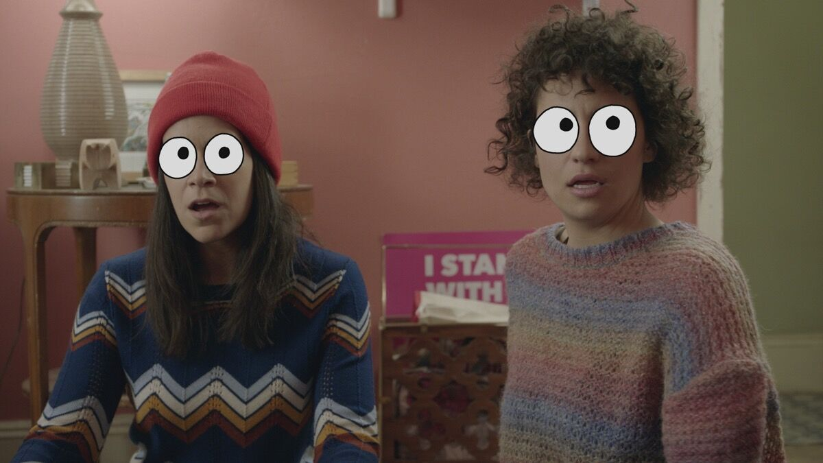 "Broad City 404 ""Mushrooms"" (still), October 11, 2017. Art by Mike Perry Studio. Photo courtesy of Comedy Central."