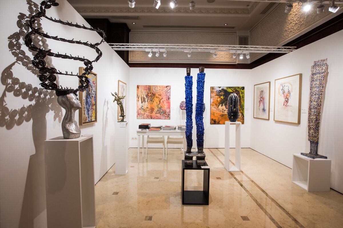 Installation view of Galerie Valois's booth at 1-54. Photo by Adnane Zemmama. Courtesy of 1-54, Marrakech.