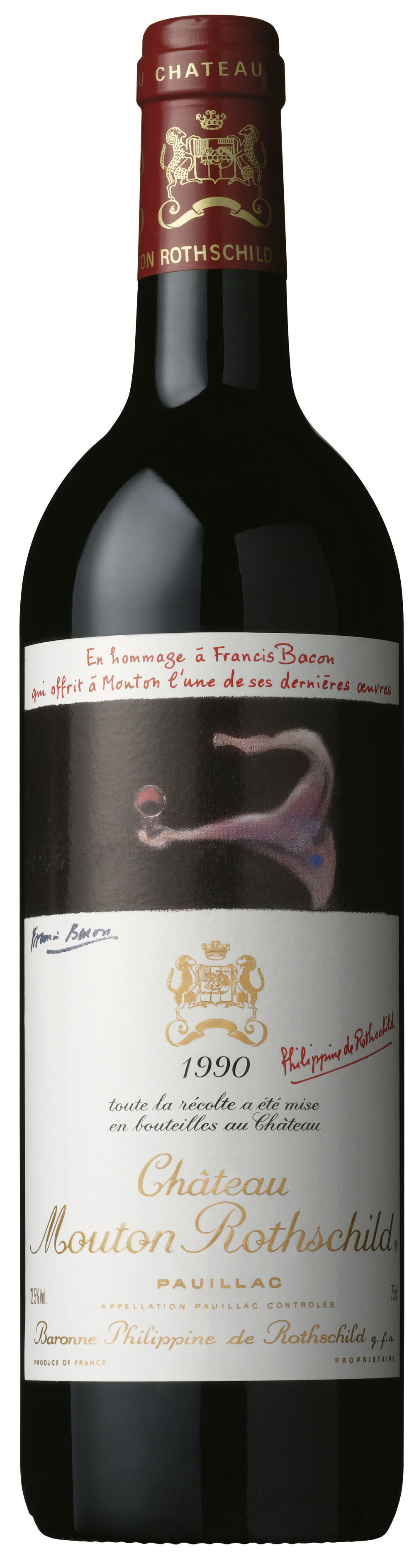 Francis Bacon designed wine label for Château Mouton Rothschild. Image courtesy of Château Mouton Rothschild.