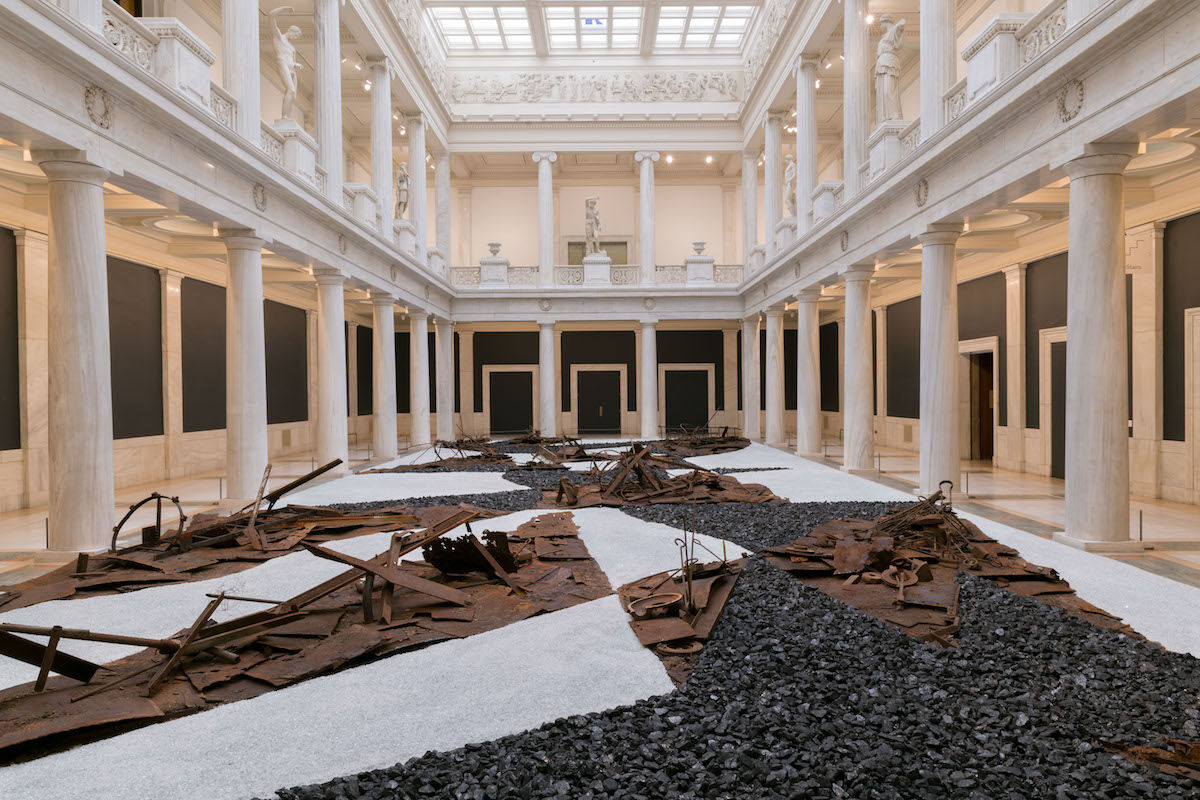 Installation view of Postcommodity's From Smoke and Tangled Waters We Carried Fire Home, 2018, in the 57th Carnegie International. Photo by Bryan Conley. Courtesy the artists.