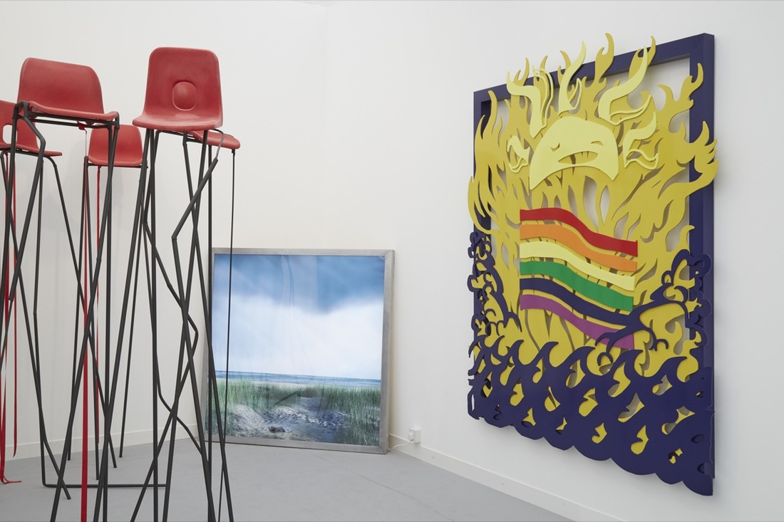 Installation view of work by Hannah Quinlan & Rosie Hastings at Arcadia Missa's booth at Frieze London, 2016. Photo by Benjamin Westoby for Artsy.