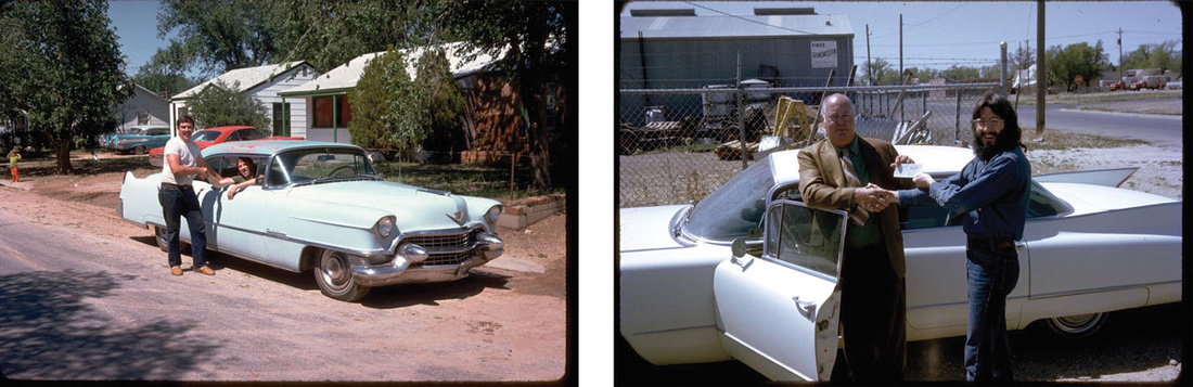 Left: Ant Farm member Doug Michels shakes on a 1954 Cadillac; Right:Chip Lord purchases the first car for the Cadillac Ranch project, a 1960 Sedan DeVille. Photos courtesy of Chip Lord.