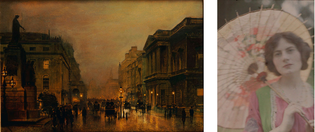 Left:Atkinson Grimshaw, Pall Mall, c. 1880s; Right:John Cimon Warburg, The Japanese Parasol, c. 1906. © Royal Photographic Society / National Media Museum / Science & Society Picture Library.Images courtesy of Tate.