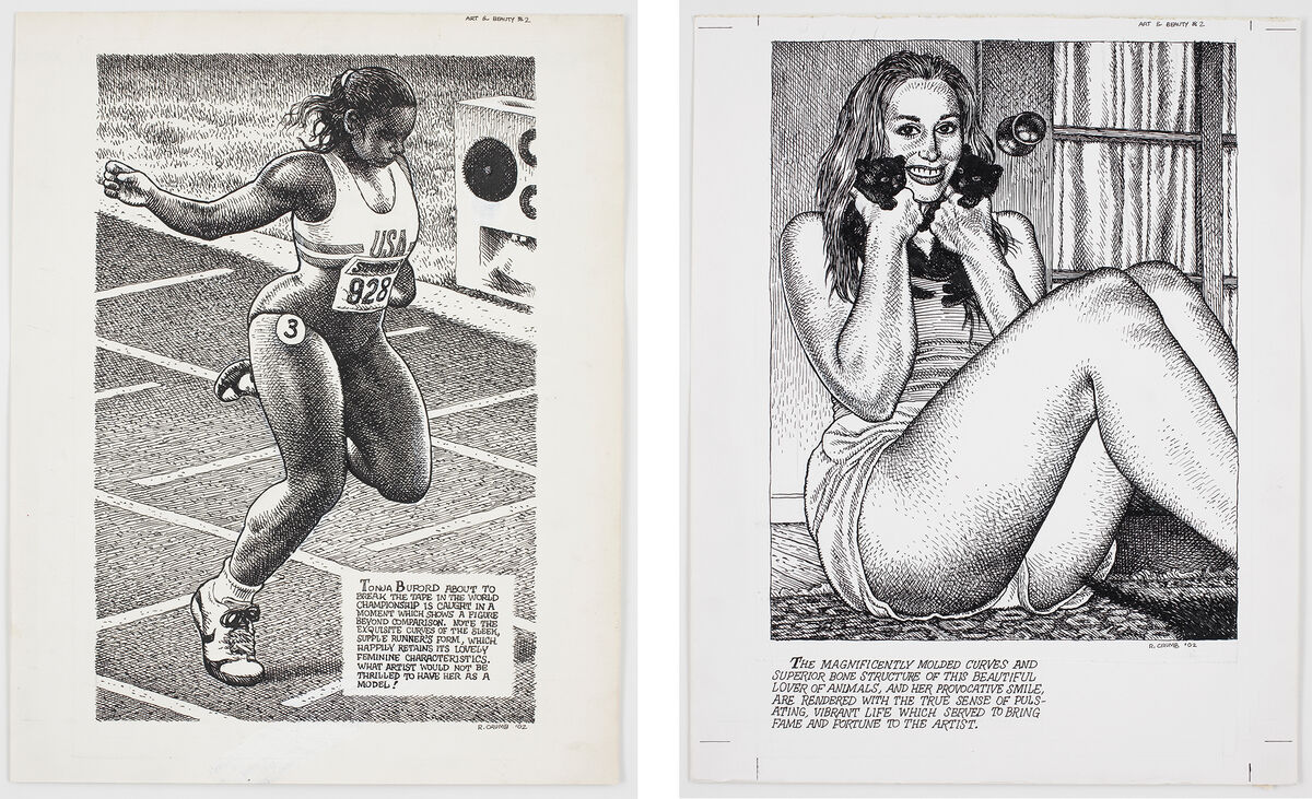Untitled (2002) and Untitled (2002). Pages from Art & Beauty Magazine, Number 2, 2003. © Robert Crumb, 2002. Courtesy of the artist, Paul Morris, and David Zwirner, New York/London.
