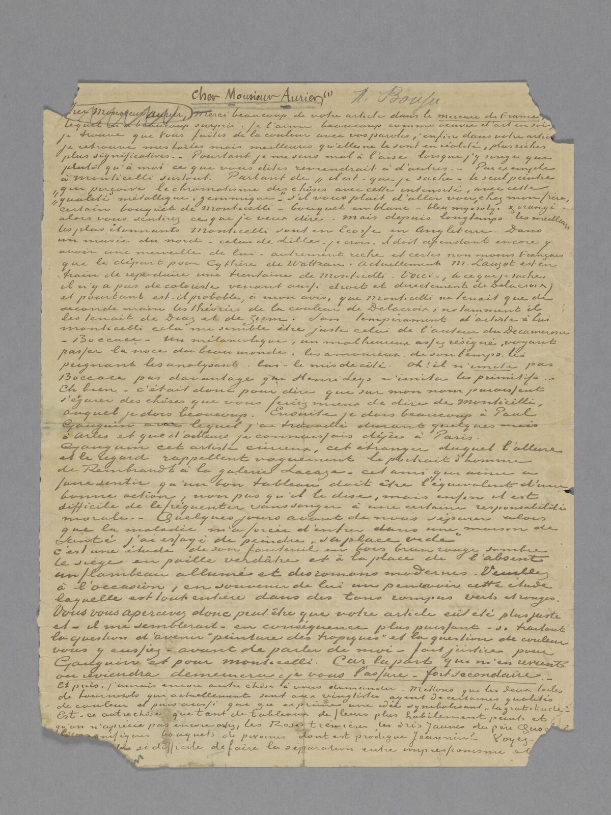 The front of the letter from Vincent van Gogh to Albert Aurier, 9 or 10 February, 1890. Van Gogh Museum, Amsterdam (gift of Mr and Mrs Cheung Chung Kiu).