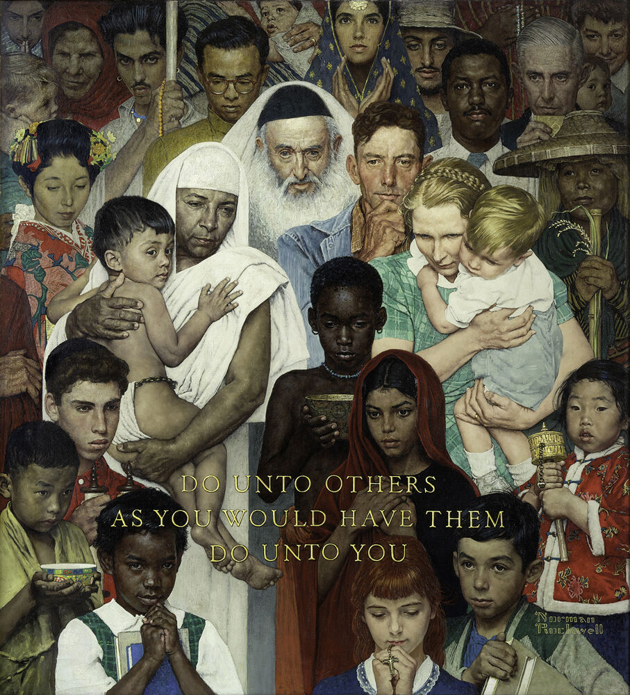 Norman Rockwell, Golden Rule, 1961. Cover illustration for The Saturday Evening Post, April 1, 1961. © SEPS: Curtis Licensing, Indianapolis, IN. Courtesy of the Norman Rockwell Museum and the New York Historical Society Museum & Library.