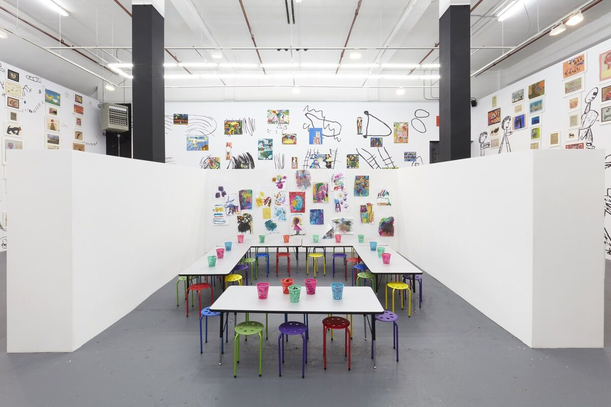 "Installation view of ""Brian Belott: Dr. Kid President Jr."" at Gavin Brown's enterprise. Courtesy of Gavin Brown's enterprise."