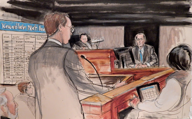Forensic accountant Roger Siefert giving testimony on the profits Knoedlerreceivedfrom the sales ofthe Rosales Collection. Image courtesy of Elizabeth Williams of Illustrated Courtroom.
