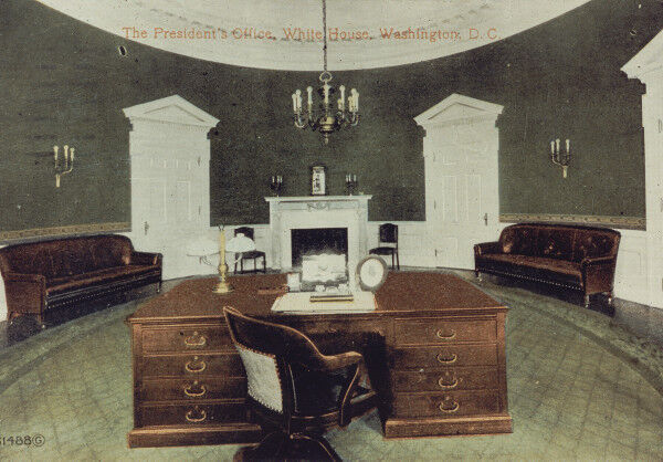 A tinted postcard of the first Oval Office, made during the William Howard Taft administration. Courtesy of the White House Collection/White House Historical Association.
