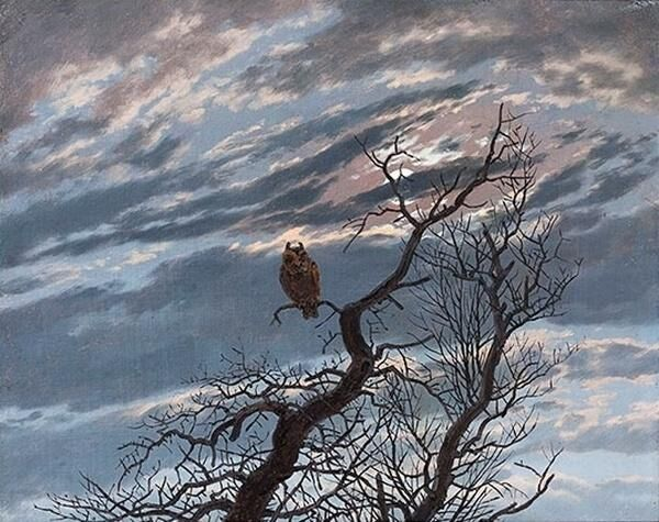 Caspar David Friedrich, Owl on a tree, 1834. Image via Wikimedia Commons.