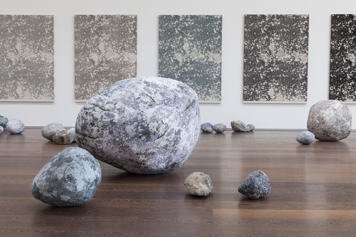 "Sarah Sze, Installation view, ""Stone Series,"" 2013-2015 at Victoria Miro, Wharf Road. Courtesy the Artist and Victoria Miro, London. © Sarah Sze."