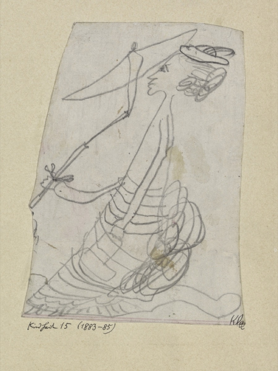 Children's drawing of a lady with a parasol, made in 1883-1885 by the 4-6 year old Paul Klee. Image via Wikimedia Commons.