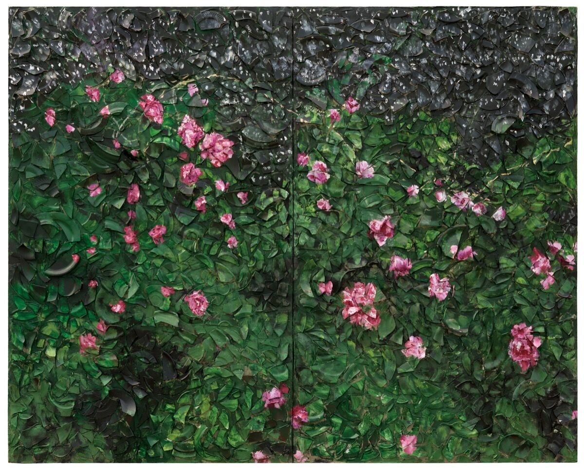 Julian Schnabel, Rose Painting (Near Van Gogh's Grave) X, 2016. © Julian Schnabel Studio. Photograph by Gary Mamay. Courtesy of Pace Gallery.