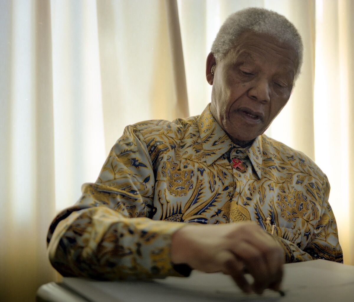 Nelson Mandela drawing. Photo by Grant Warren. Courtesy of WeTransfer and The House of Mandela Art.