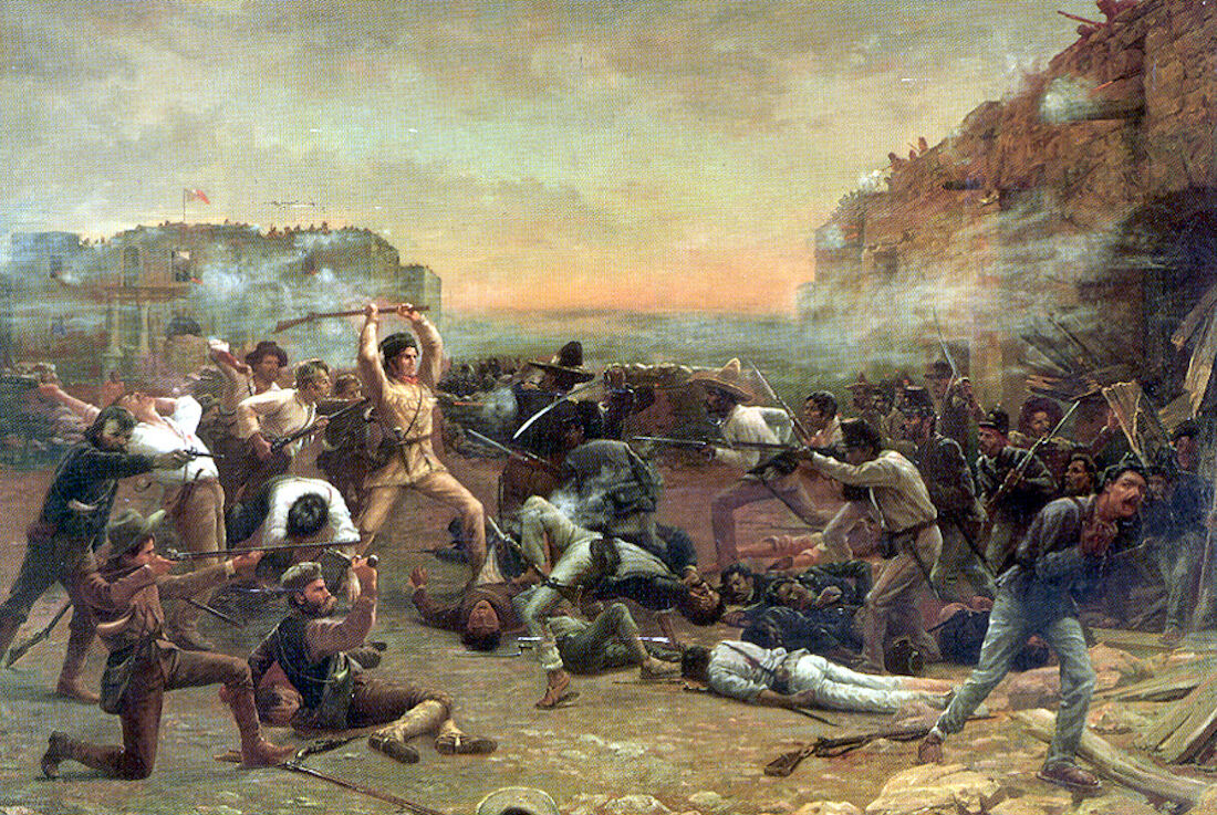Robert Jenkins Onderdonk, The Fall of the Alamo or Crockett's Last Stand, c. 1903. Photo via Wikimedia Commons.