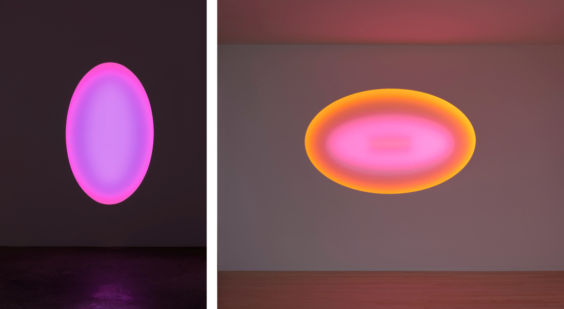 Left:James Turrell, Cockle Creek, 2014. Right: James Turrell, Stewart Island, 2015.L.E.D. light, etched glass and shallow space. 50 ¾ x 82 ¼ inches. © James Turrell. Photos by Robert Wedemeyer. Courtesy of Kayne Griffin Corcoran, Los Angeles.