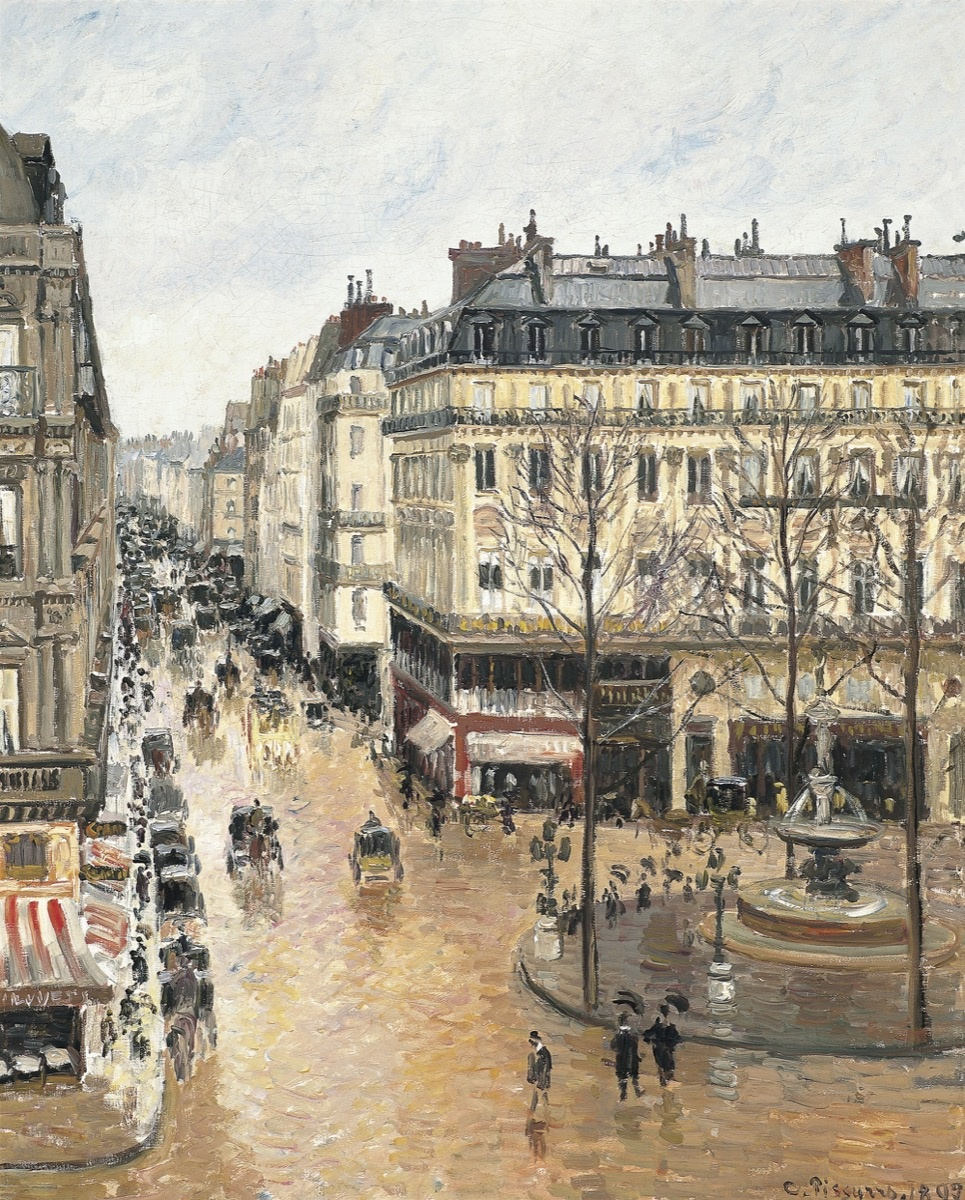 Camille Pissaro, Rue Saint-Honoré, apres-midi, effect de pluie (Rue St. Honore, Afternoon, Rain Effect), 1897. Image via Wikimedia Commons.