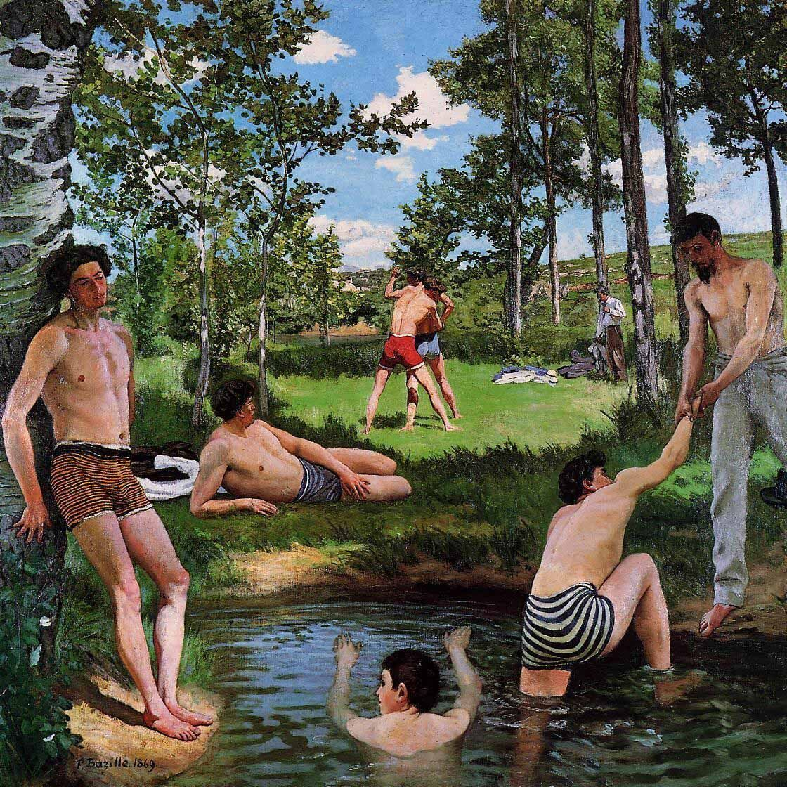 Frédéric Bazille, Summer Scene (Bathers), 1869. Fogg Museum. Photo via Wikimedia Commons.