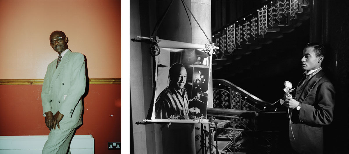 Left:Liz Johnson-Artur, Untitled, from Black Balloon Archive.© Liz Johnson-Artur. Image courtesy of the artist; Right:Isaac Julien, Homage Noir, from Looking for Langston (Vintage series), 1989/2016. © Isaac Julien. Image courtesy of the artist.