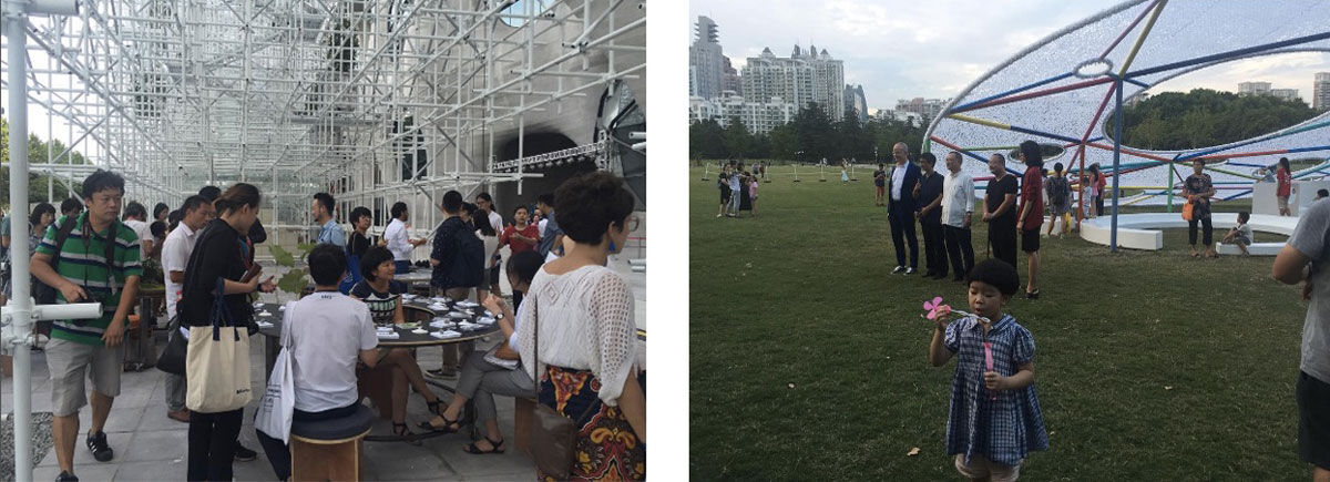 Left: One in a series of performances as part of Otobong Nkanga's Landversation, part of Shanghai Project. Right: Liu Yi's Seed Planet, a public art program for children, and Liam Gillick's Shanghai Schlemmer installation, both part of Shanghai Project. Images by @shanghaiproject, via Instagram.