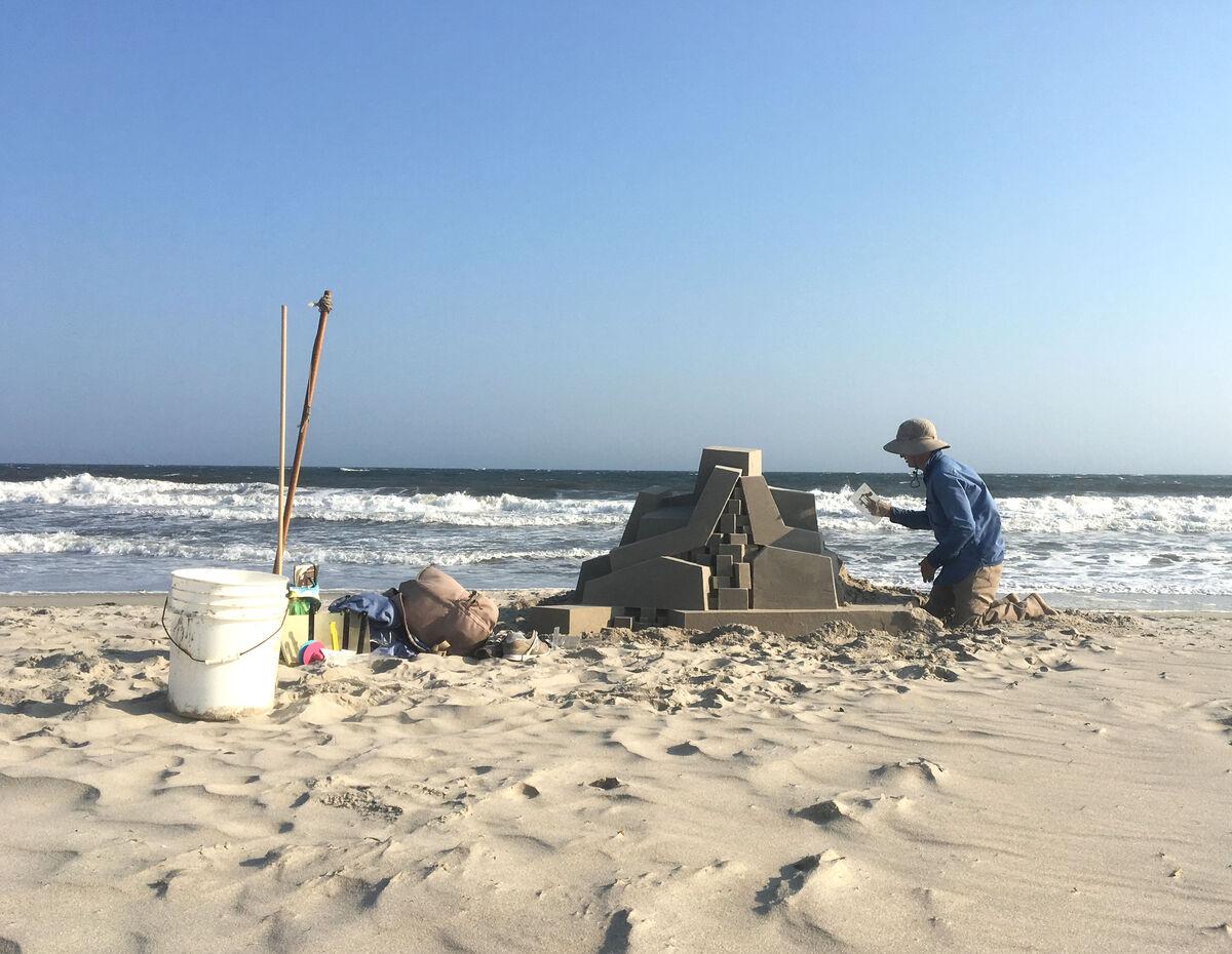 Seibert working on a castle.