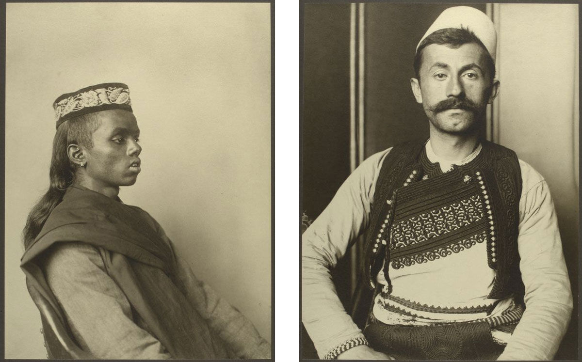 Left: Hindoo boy. Right: Albanian soldier. Photographs by Augustus Sherman, via the NYPL Digital Collections.