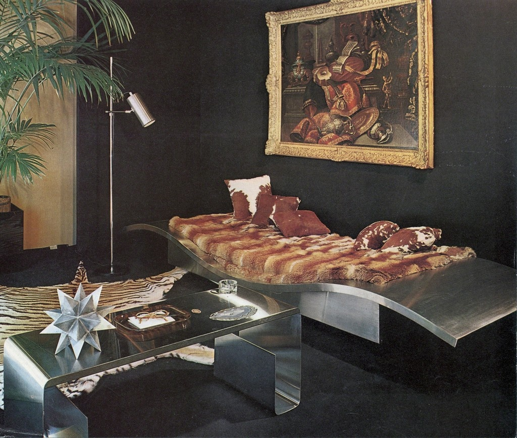 """Reproduction of the exhibition """"Maison er Jardin"""" for """"Plasir de France,"""" January 1969. Featuring Maria Pergay's""""FlyingCarpet""""daybed and stainless steel and amethyst low table."""
