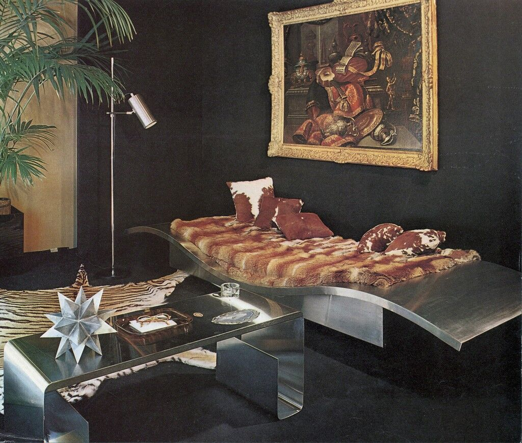 "Reproduction of the exhibition ""Maison er Jardin"" for ""Plasir de France,"" January 1969. Featuring Maria Pergay's ""Flying Carpet"" daybed and stainless steel and amethyst low table."