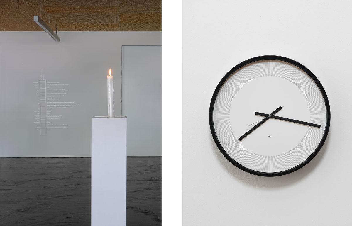 Left: Katie Paterson, Candle (from Earth into a Black Hole), 2015. Photo © Blaise Adilon, 2015. Exhibition view Frac Franche-Comté. Courtesy of the artist; Right: Katie Paterson, Timepieces (Solar System), 2014. Photo © John McKenzie. Courtesy of the artist and Ingleby Gallery, Edinburgh.