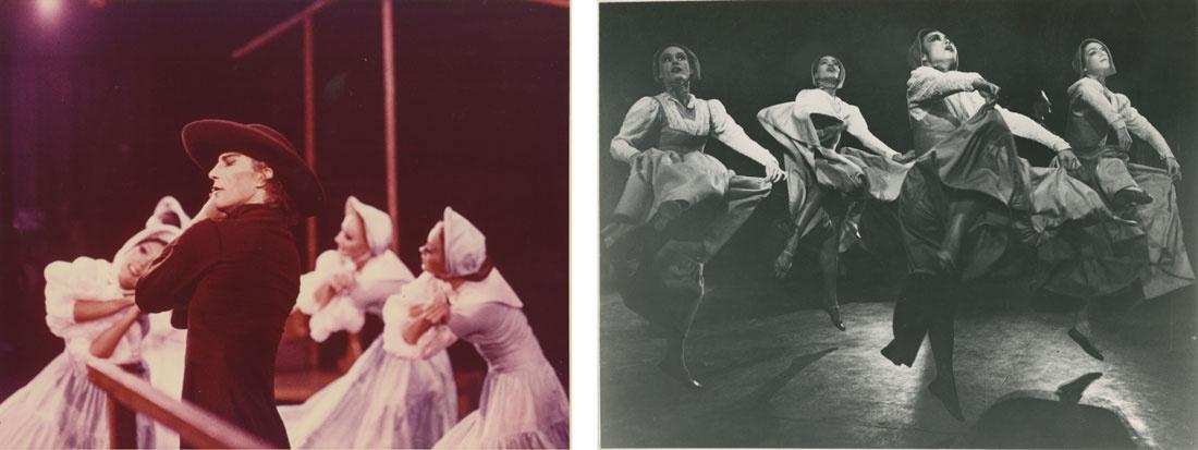 Left: David Hatch Walker and chorus in Appalachian Spring. Photographer unknown; Right: Yuriko, Helen McGehee, and Mary Hinkson in Appalachian Spring.Photographer unknown. Images courtesy of the Martha Graham Dance Company.