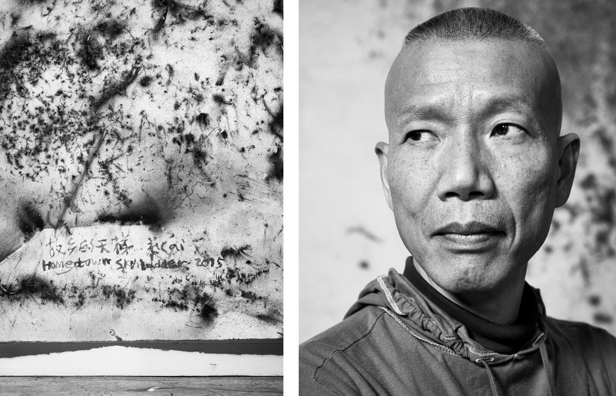 Detail of Hometown Skyladder (2015) and portrait of Cai Guo-Qiang in his East Village studio. Photographs by Alex John Beck for Artsy.