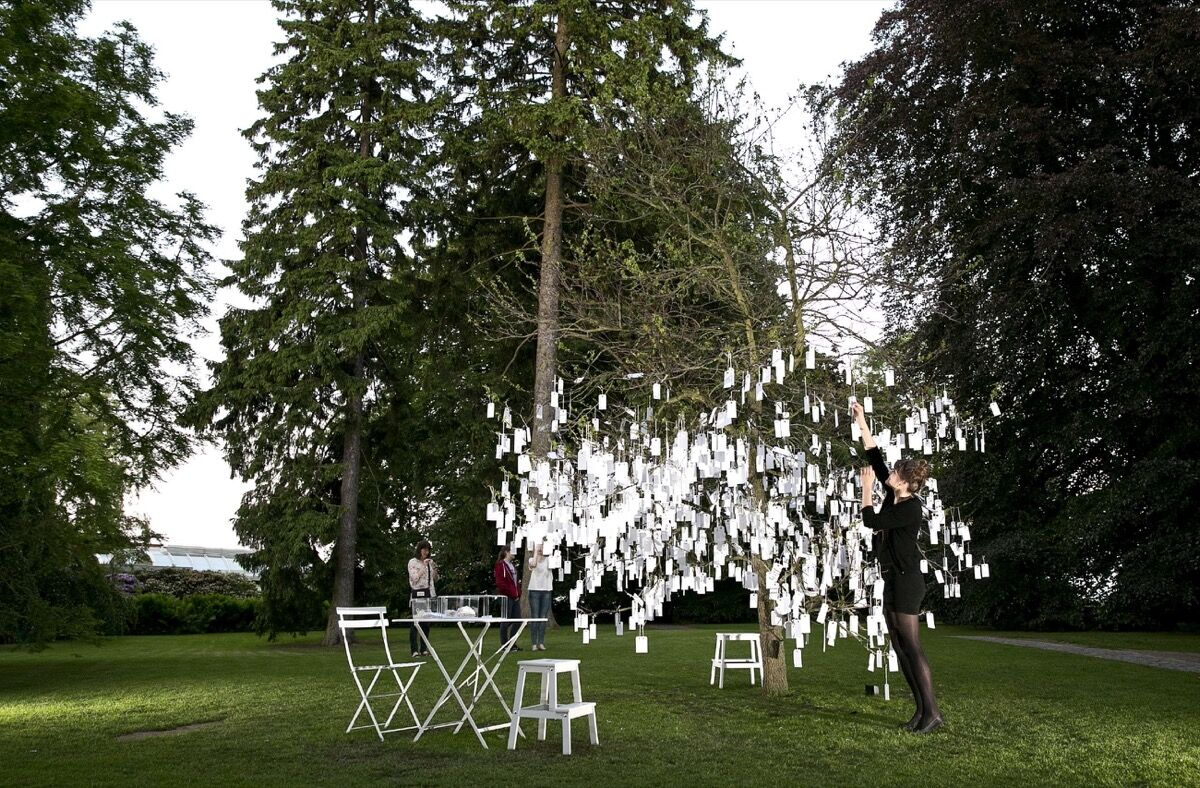 Yoko Ono, WISH TREE, 2013. Photo by Bjarke Oersted. Courtesy of the Shanghai Project and the Louisiana Museum of Modern Art, Denmark.