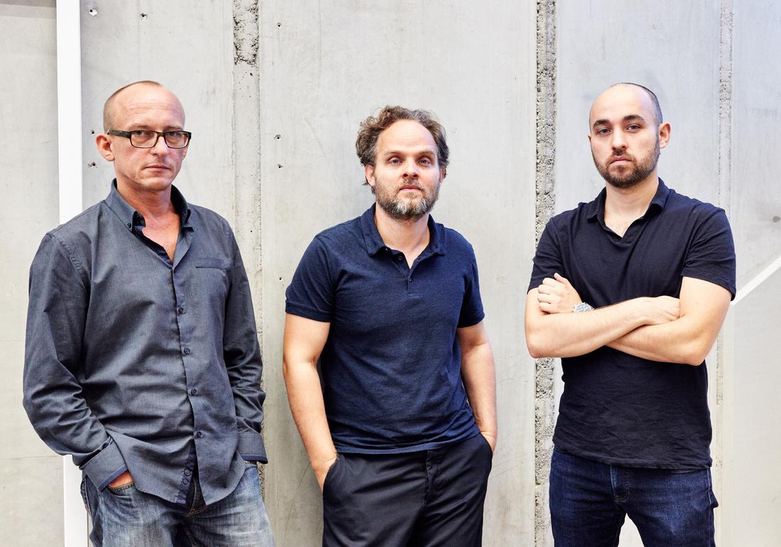 Alexander Koch, Nikolaus Oberhuber, and Raphael Oberhuber, directors of KOW. Photo by Patrick Desbrosses, Berlin, courtesy of KOW.
