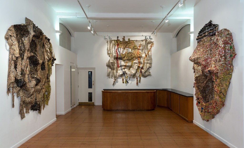 Installation view of El Anatsui at October Gallery, London. Courtesy October Gallery and the artist.