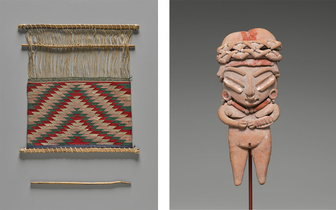 Left: Hand Loom, Mexico, ca. 1930. Yale University Art Gallery, The Harriet Engelhardt Memorial Collection, Gift of Mrs. Paul Moore. Right: Standing Female Figurine, Mexico, Guanajuato, Chupícuaro, 400–100 B.C. Yale Peabody Museum of Natural History.