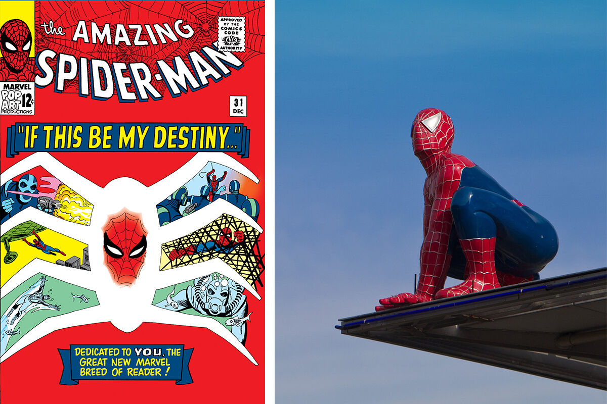Left: The Amazing Spiderman. Courtesy of Marvel. Right: Photo by Jens Wolf/AFP/Getty Images.