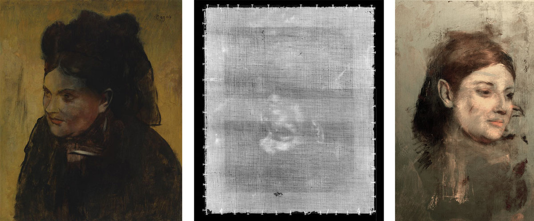 Left to right: Edgar Degas, Portrait of a Woman, c. 1876–80; X-radiograph of the painting; False color reconstruction of the painting. Images courtesy of National Gallery of Victoria, Melbourne.