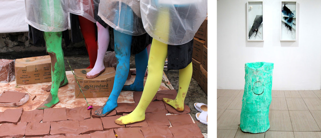 """Installation view of """"Mayest"""" at Orgy Park. Left: View of Phoebe Berglund's performance; Right: Works by Stacey Fisher and Cassie Raihl. Photos courtesy of Orgy Park."""