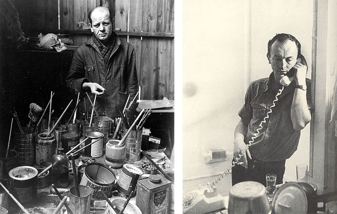 Left: Portrait of Jackson Pollock, Springs, New York (1949) by Arnold Newman. Image courtesy of Howard Greenberg Gallery; Right: Photograph of Frank O'Hara by Mario Schifano (1965). Image via Wikimedia Commons.