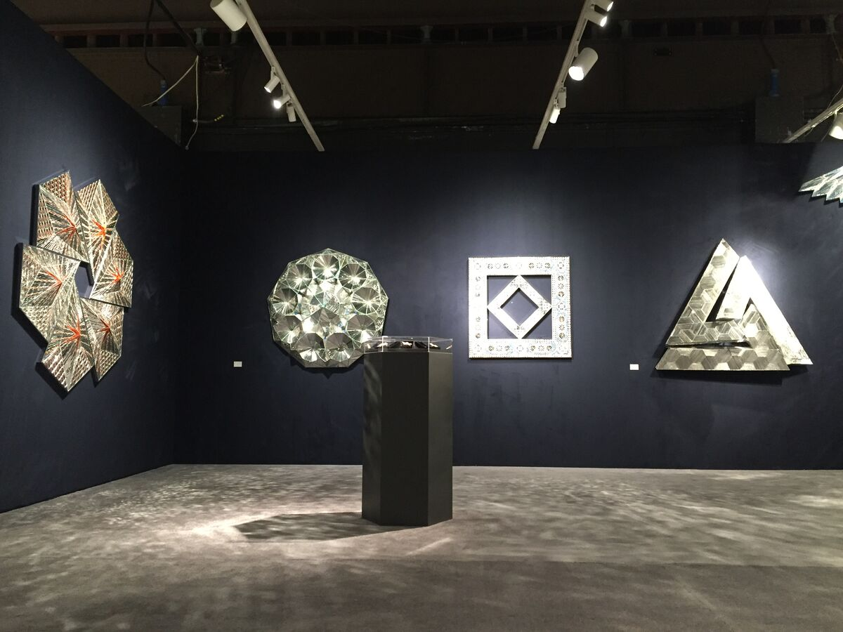 Installation view of works by Monir Farmanfarmaian at Haines Gallery's booth at ADAA: The Art Show, 2016. Photo courtesy of the artist and Haines Gallery.