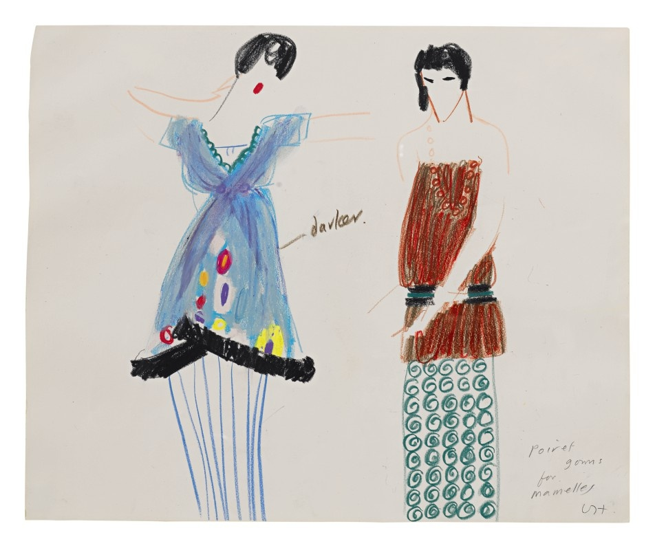 David Hockney, Poiret Gowns for Mamelles IV, 1980. Estimate $20,000–30,000.