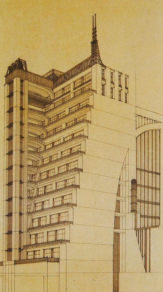Antonio Sant'Elia, Bozzetto d'architettura, 1914. Image via Wikimedia Commons.