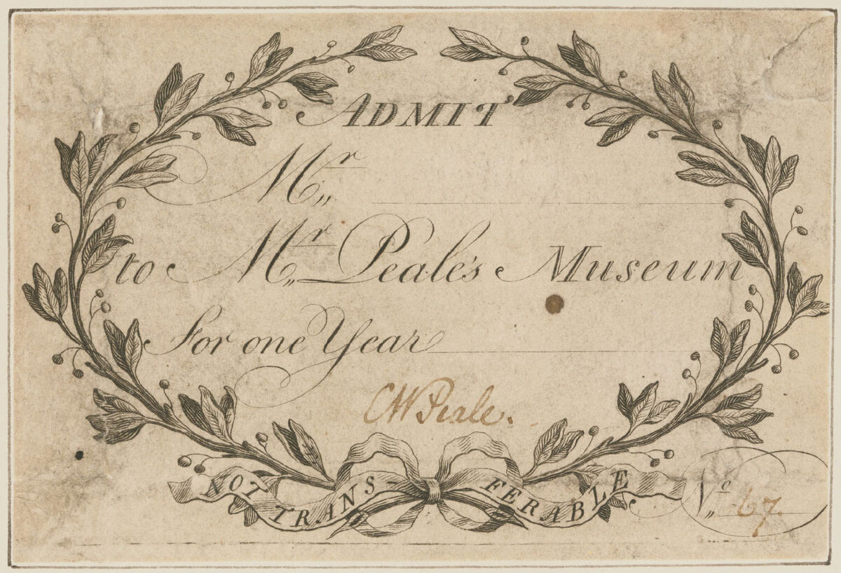 Moses Williams, Admission Ticket to Peale's Museum, 1794. Gift of Jack L. Lindsey in honor of H. Richard Dietrich, Jr., and Robert L. McNeil, Jr., 1997. Courtesy of the Philadelphia Museum of Art.