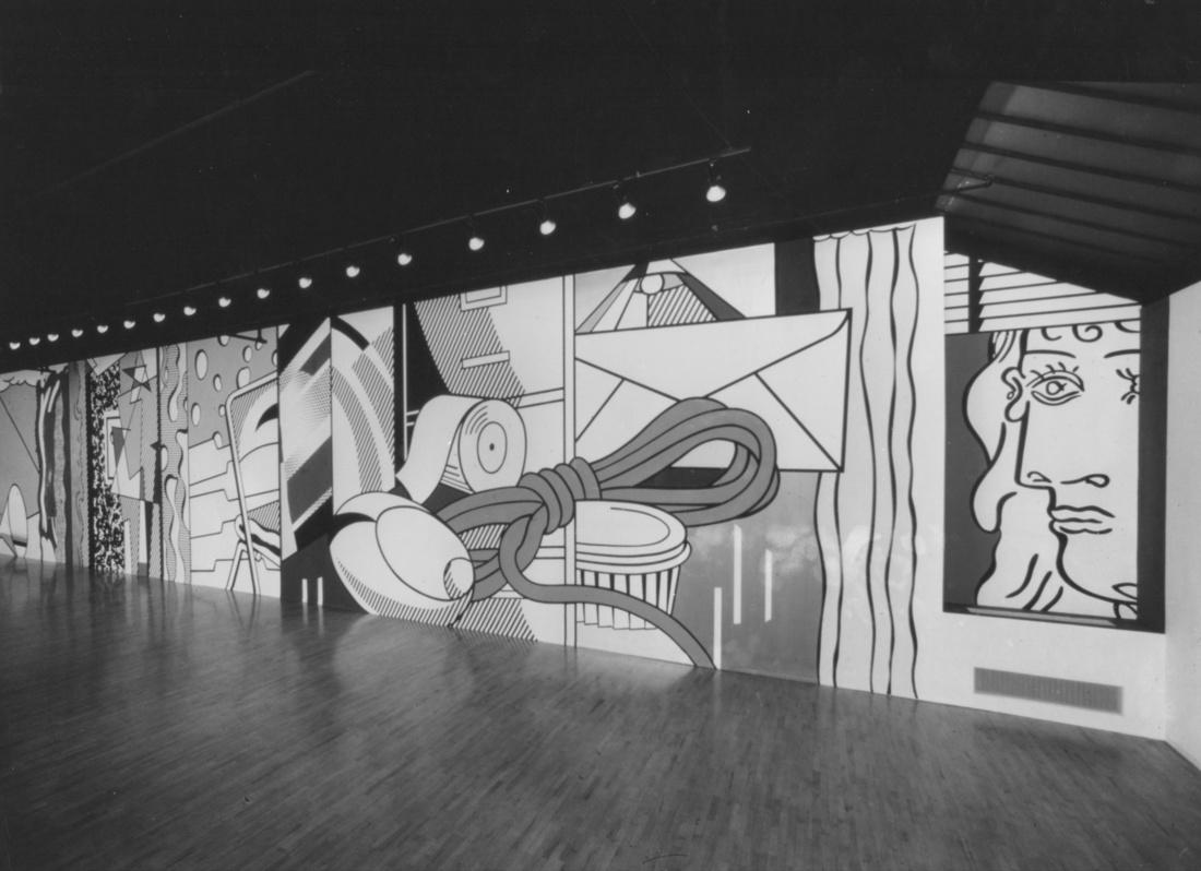 RoyLichtenstein,Greene Street Mural,1983, installed at Leo Castelli Gallery, 142 Greene Street, New York, December 3, 1983–January 14, 1984. © Estate of RoyLichtenstein. Courtesy Castelli Gallery and Gagosian Gallery
