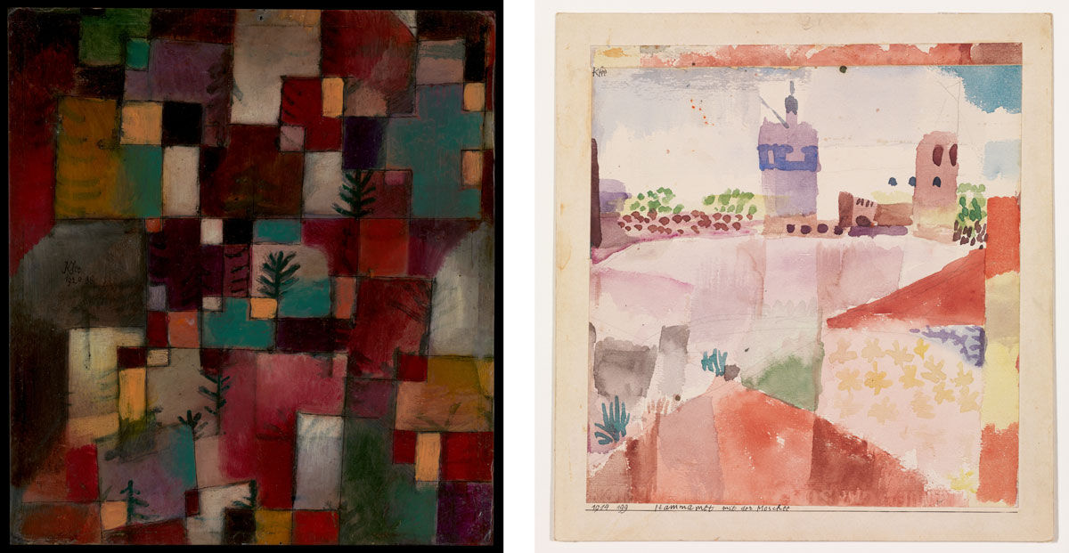 Left: Paul Klee, Redgreen and Violet-Yellow Rhythms, 1920. The Berggruen Klee Collection, 1984. Image © The Metropolitan Museum of Art; Right: Paul Klee, Hammamet with Its Mosque, 1914. The Berggruen Klee Collection, 1984. Image © The Metropolitan Museum of Art.