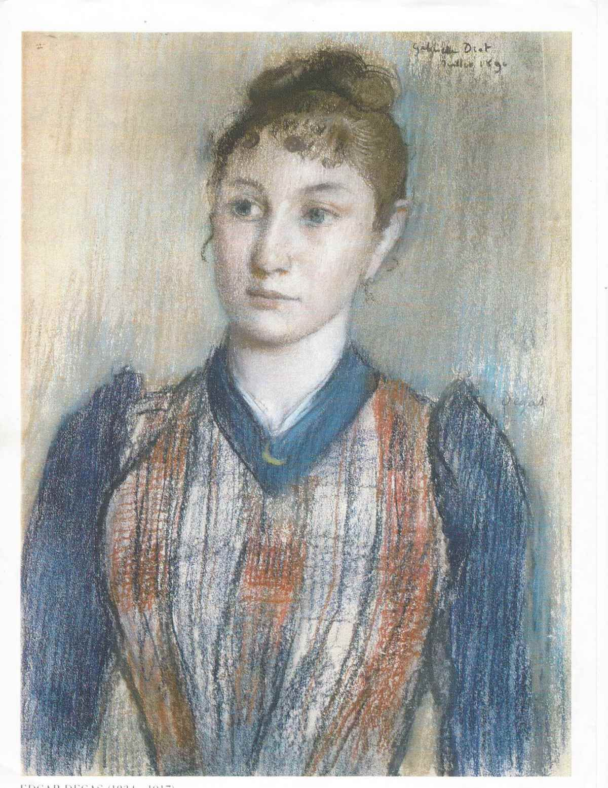 Edgar Degas, Portrait of Mlle. Gabrielle Diot, 1890. Photo courtesy Art Recovery International.