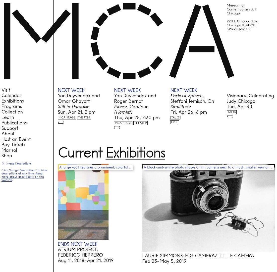 Details of the MCA's homepage showcasing Coyote image descriptions. © MCA Chicago.